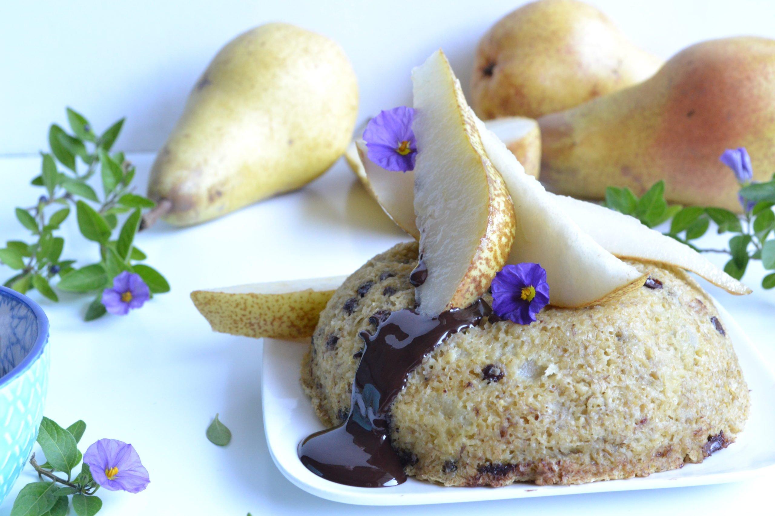 Bowlcake sans banane à la poire et au chocolat