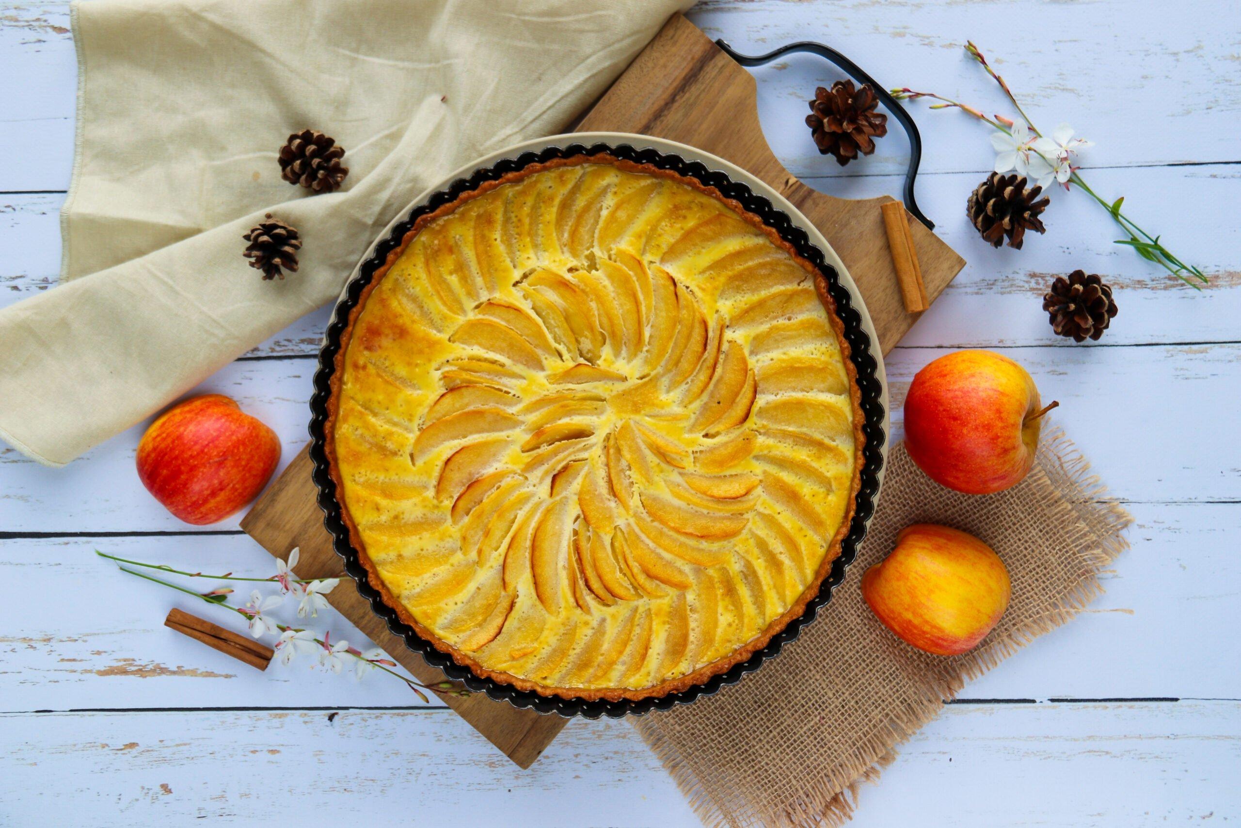 Tarte aux pommes sans sucre raffiné ni beurre