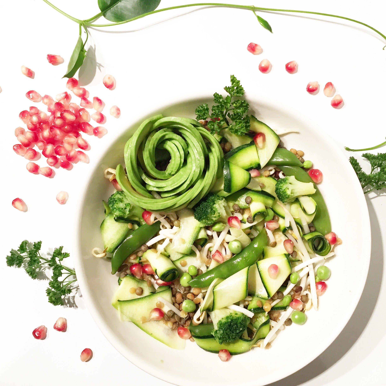 Salade de lentilles, courgettes, brocolis