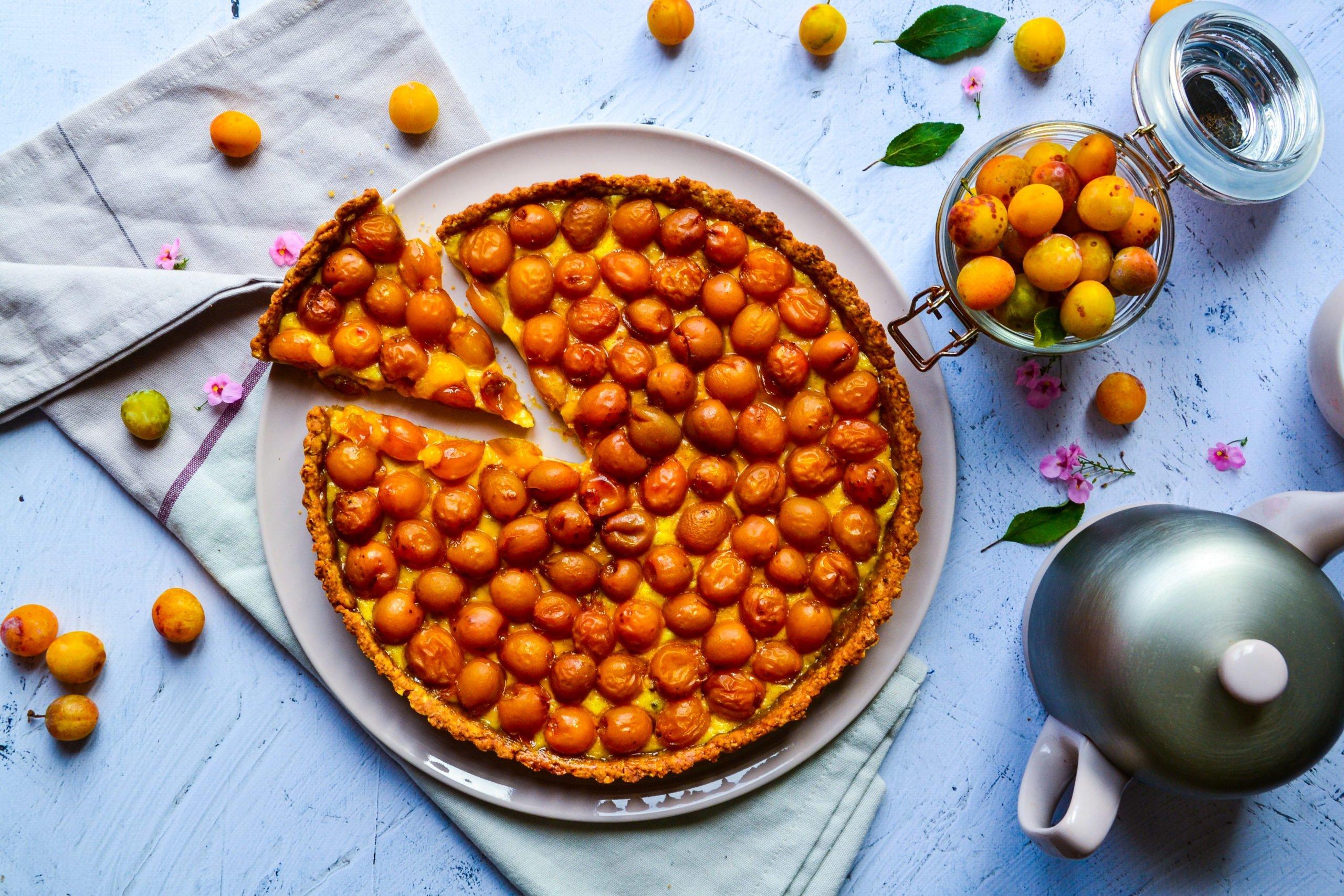 Tarte aux mirabelles sans sucre raffiné ni beurre