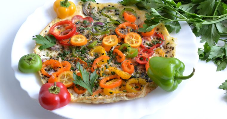 Omelette aux poivrons et sésame