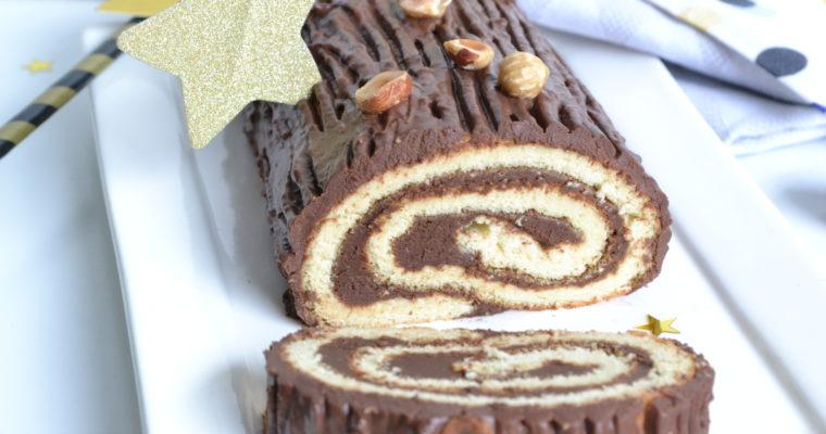 Bûche chocolat noisettes sans sucre raffiné ni matières grasses ajoutées