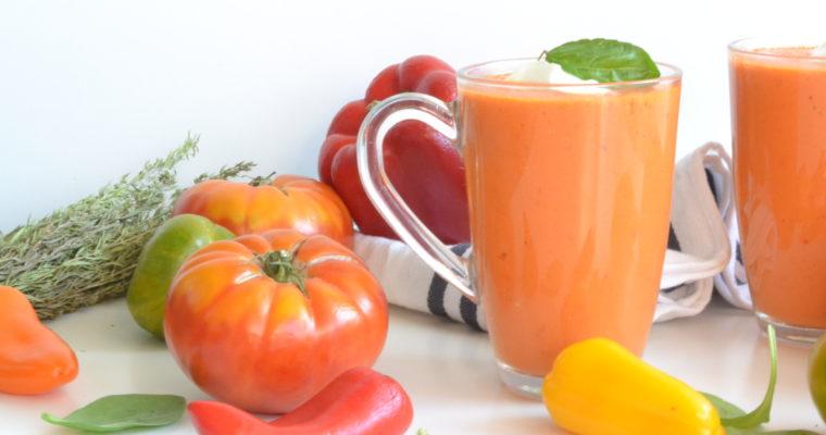 Gaspacho poivron rouge et tomates