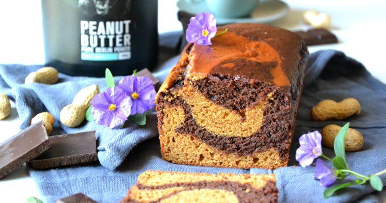 Cake marbré au chocolat et au peanut butter