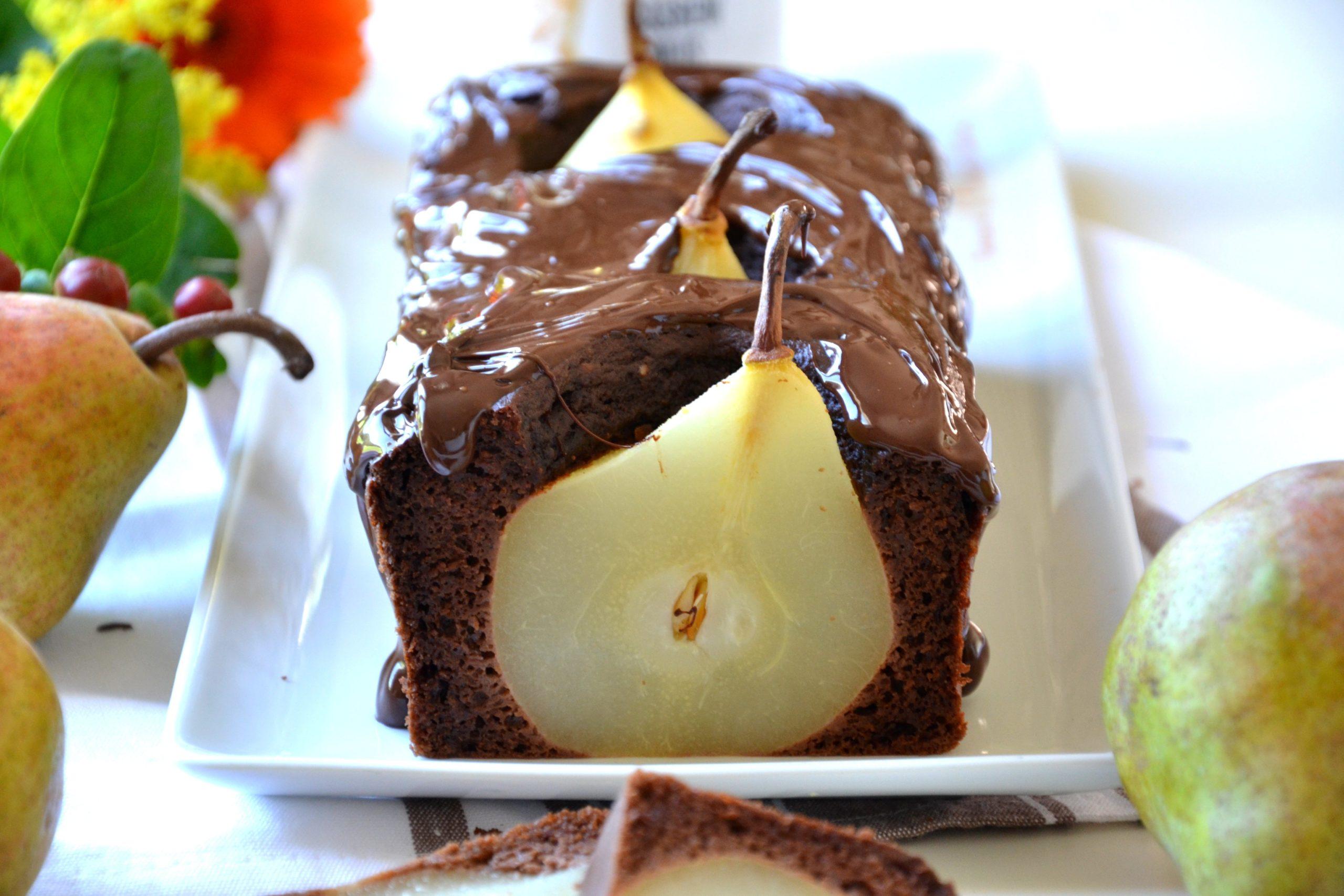 Cake aux poires et au chocolat sans sucre ajouté ni MG