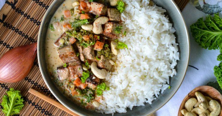 Curry végétarien au tofu et au chou kale
