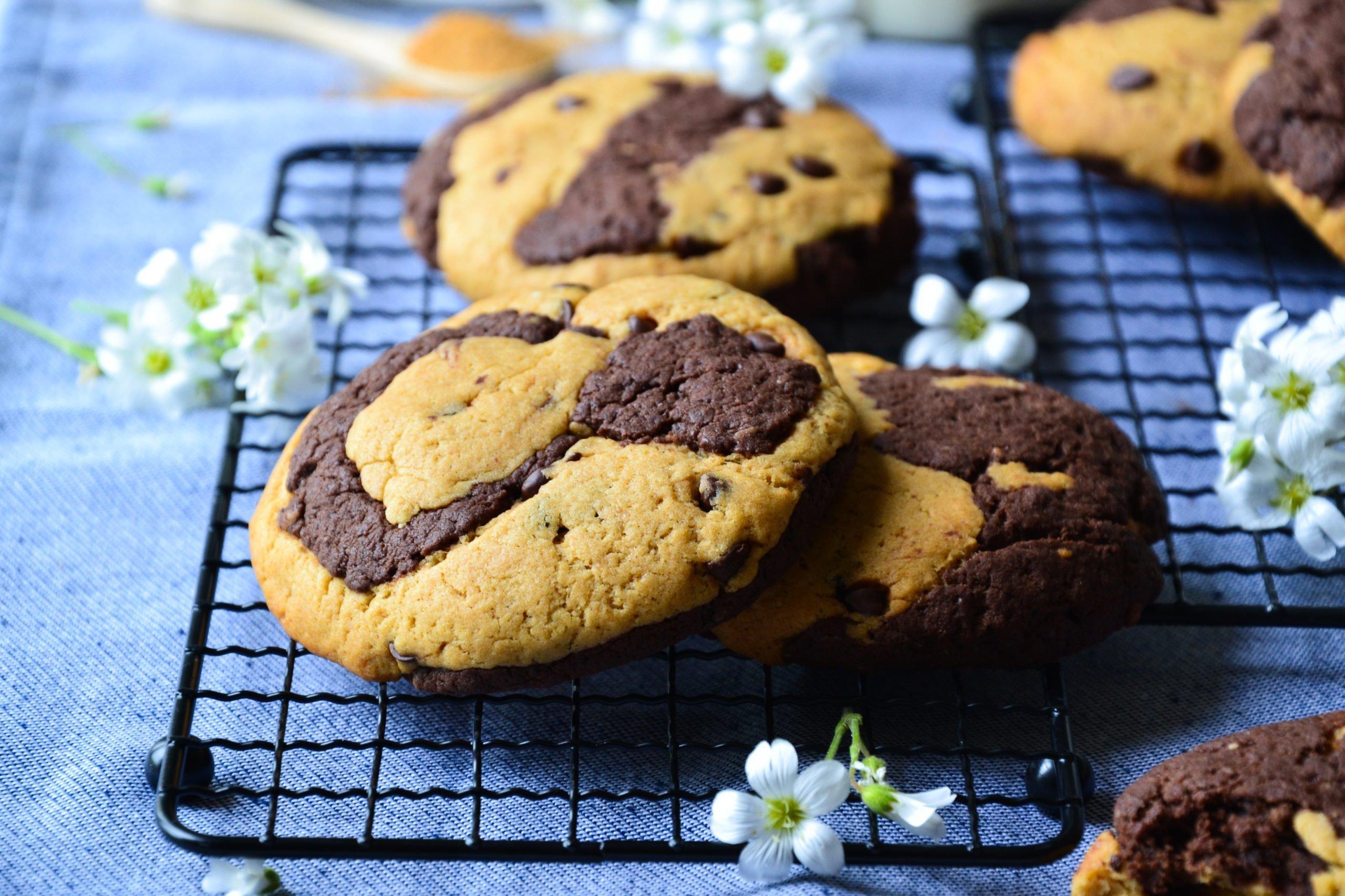 Cookies marbrés sans sucre raffiné ni beurre