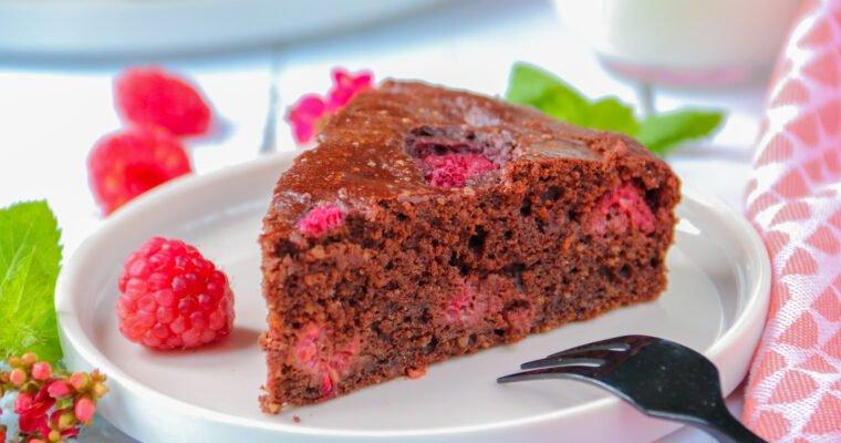 Moelleux chocolat & framboises (sans sucre raffiné ni matières grasses ajoutées)