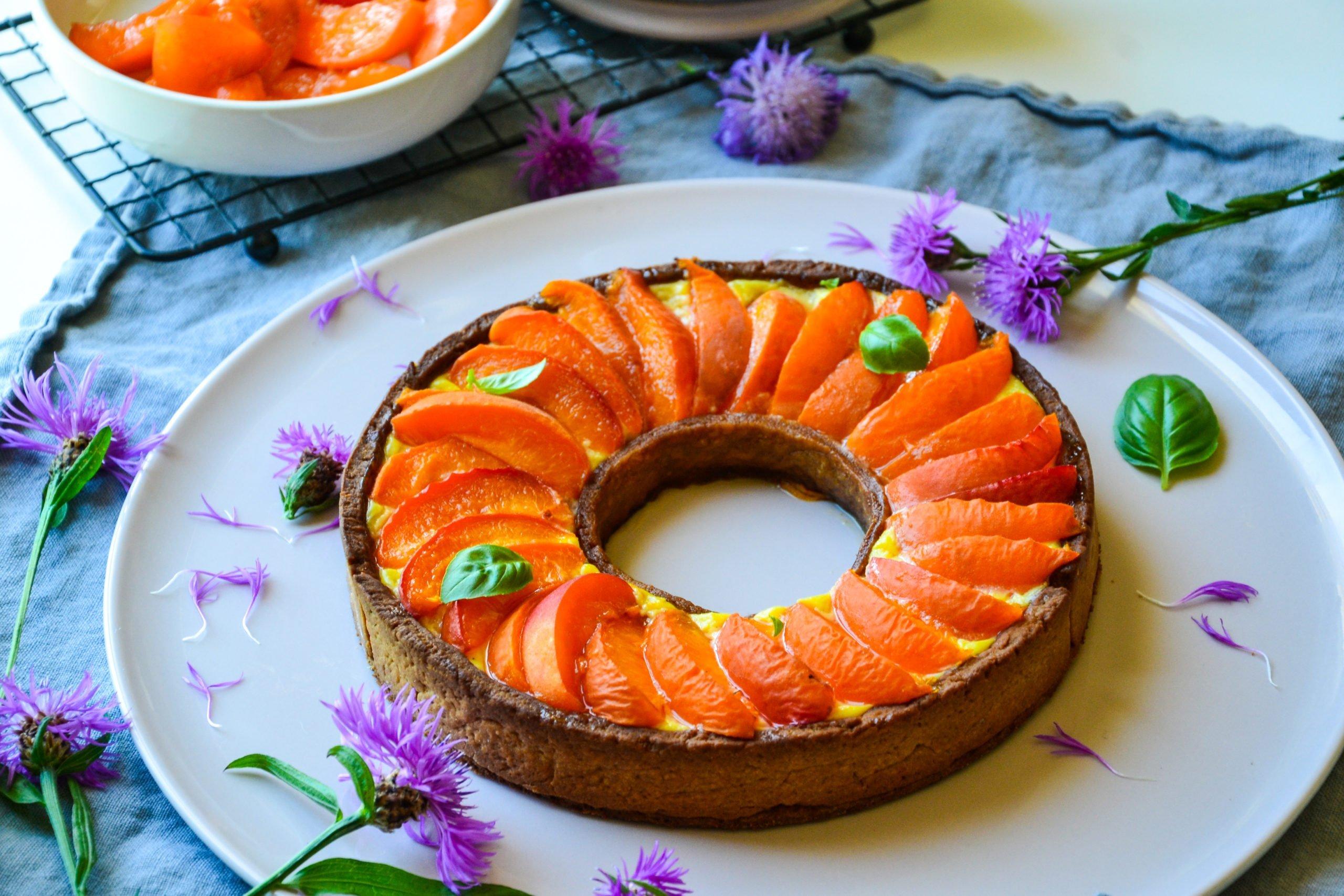 Tarte aux abricots et crème pâtissière healthy