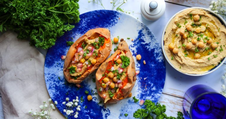 Patates douces farcies au houmous
