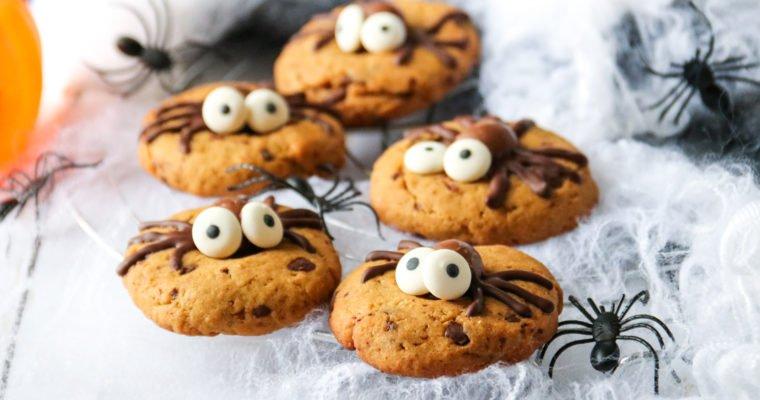 Spider cookies d'Halloween, chocolat noisettes