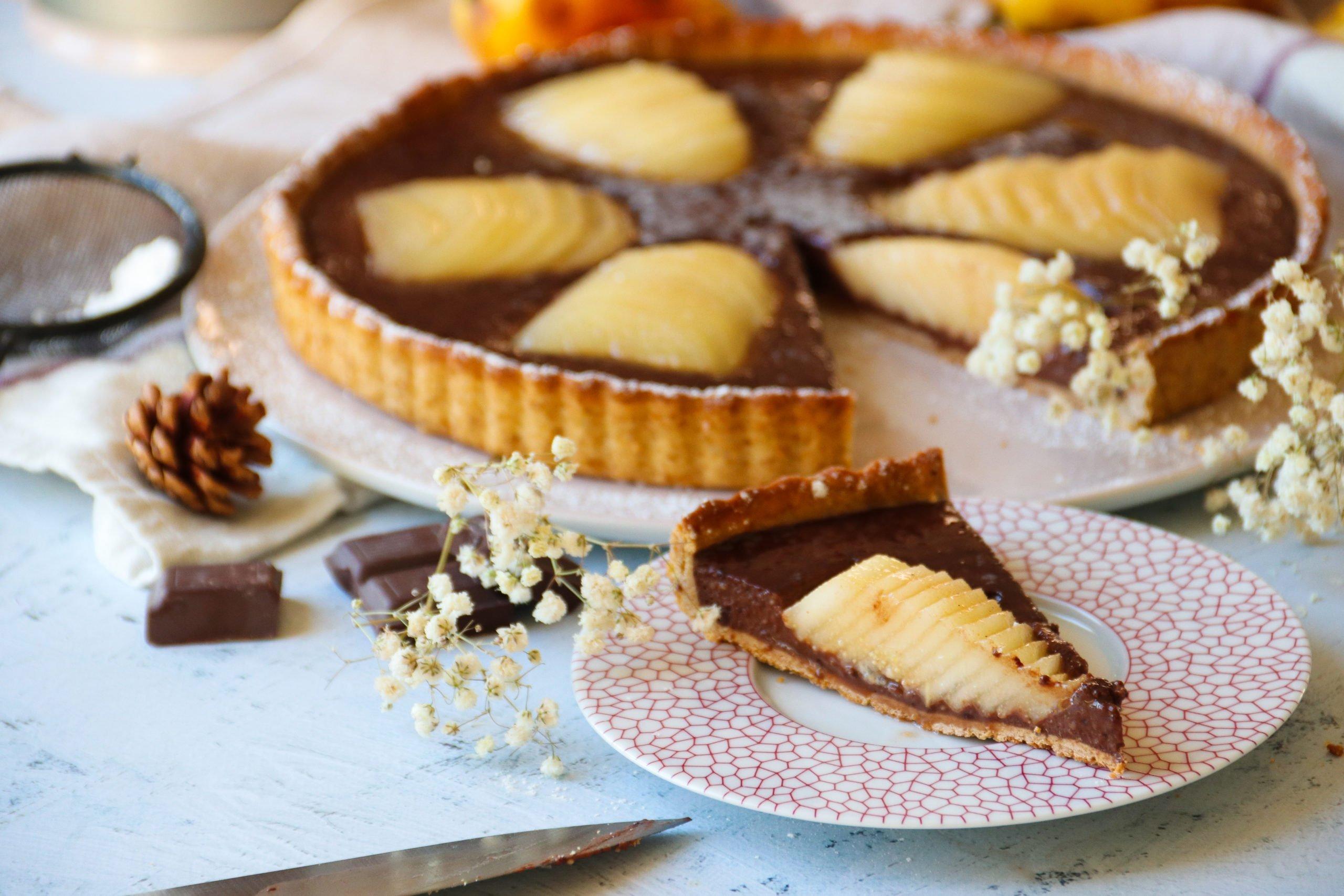 Tarte poires et cacao sans sucre raffiné ni beurre (v2)