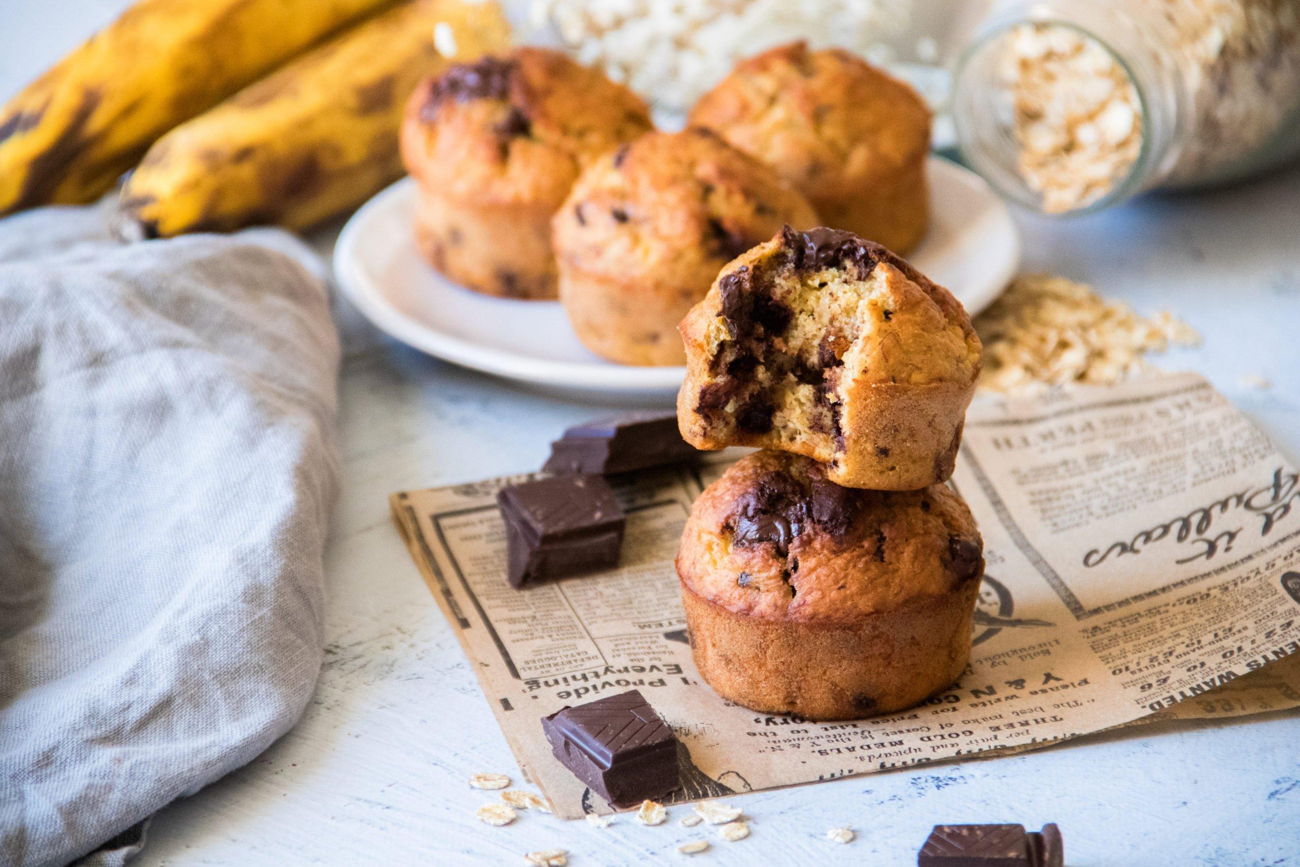 Banana muffins healthy aux pépites de chocolat