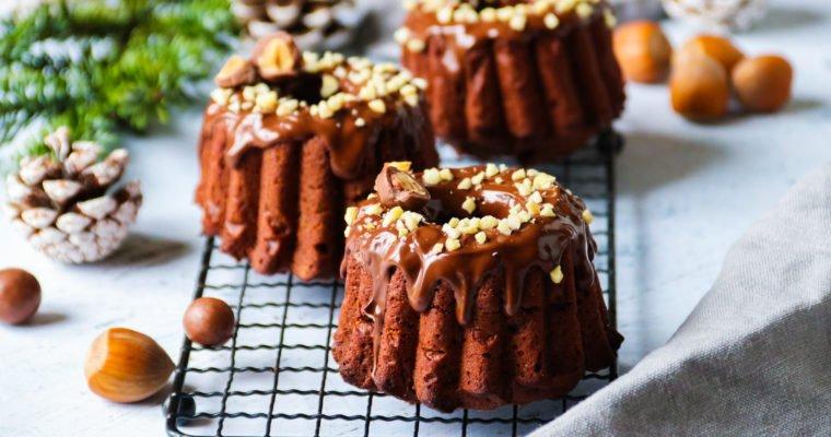 Mini bundt cakes healthy chocolat – noisettes