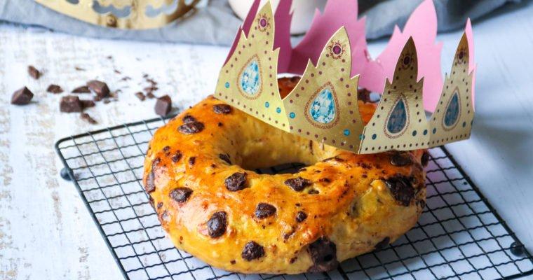 Brioche couronne des rois aux pépites de chocolat