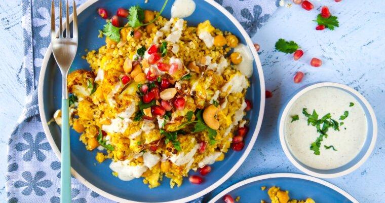 Chou-fleur rôti au curry, boulghour et sauce yaourt