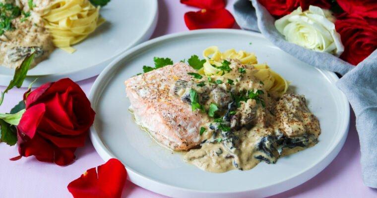 Plat St Valentin : Papillotes, sauce aux champignons et Savagnin
