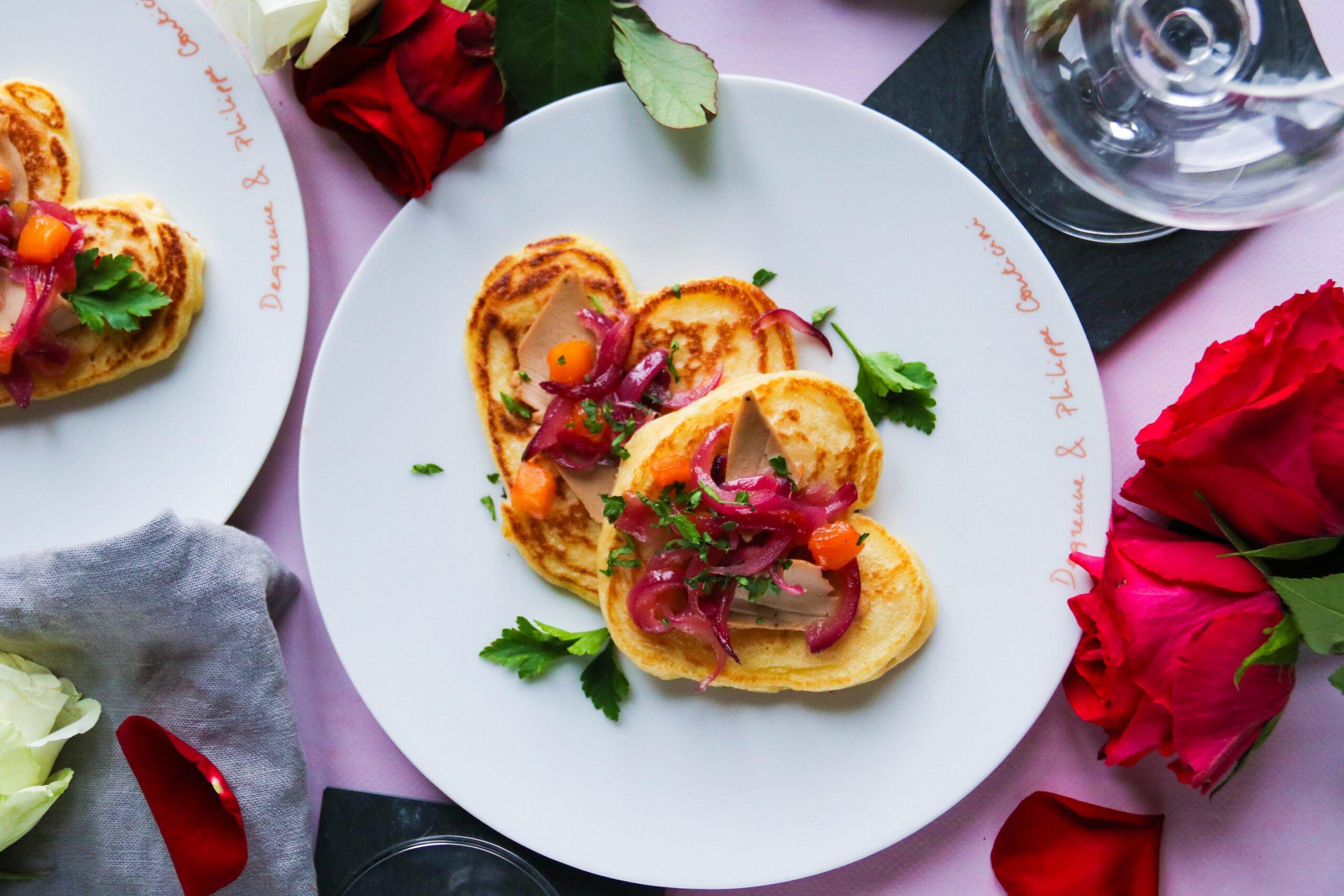 Entrée St Valentin : Blinis coeurs sucrés/salés