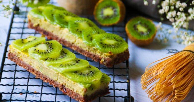 Barres façon cheese-cake kiwis et thé vert matcha