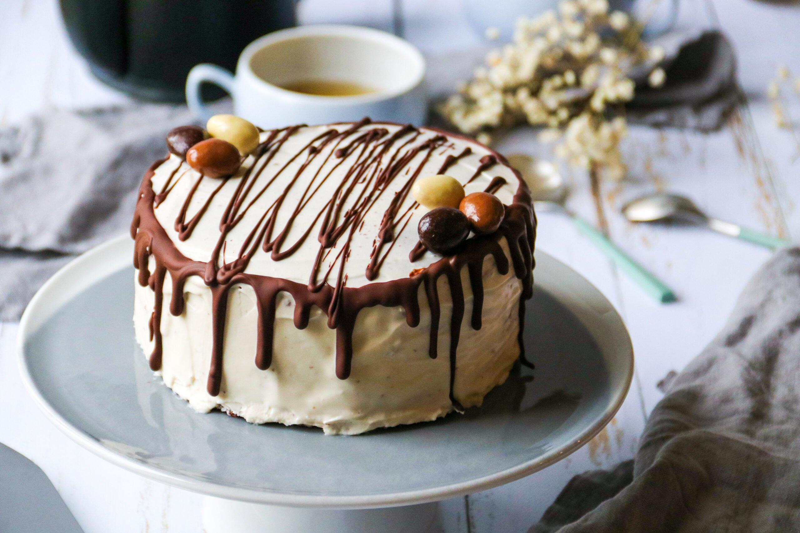Layer cake healthy chocolat-vanille