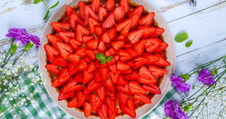Tarte aux fraises sans sucre raffiné