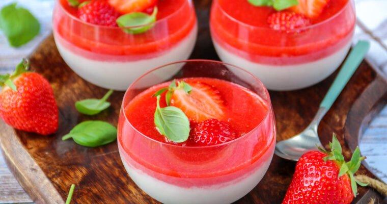 Panna cotta fraises et basilic