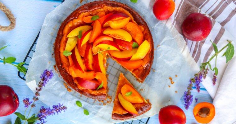 Cheese-cake avoine, abricots et nectarines