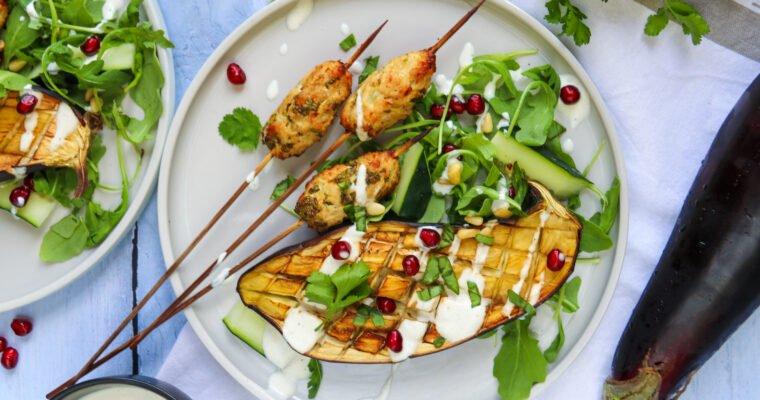 Keftas de poulet et aubergines rôties